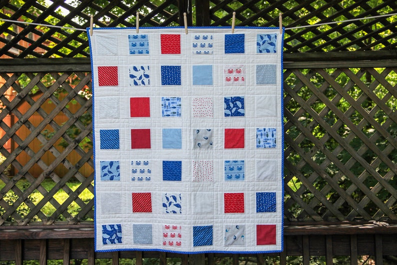 Nautical Red White & Blue Squares Quilt by MadeMarion image 0