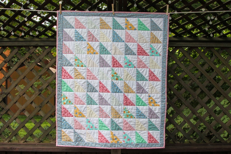 Floral Half Square Triangle Quilt by Made Marion image 0
