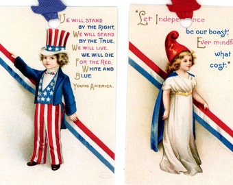 Fourth of July Tags , Patriotic Gift Tags , Vintage Tags , Red , White , and Blue , Uncle Sam Costume , Stars and Stripes , Bluebird Lane