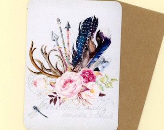 Flat greeting card etsy flat greeting card set antlers and arrows roses and feathers blank cards note cards thank you cards all occasion bluebird lane cards m4hsunfo