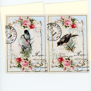 Vintage Style Cards French Cards Blank Cards Paris Cards Note Cards Flat Cards Bluebird Cards