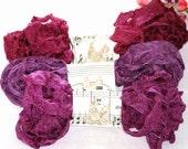 Seam Binding Ribbon , 18 Yards ,  Crinkled , AUTUMN BERRIES , Purples , Vintage Style Ribbon , Bias Tape , Purple seam binding  , Wrinkled