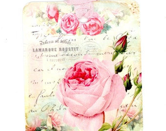 Shabby Rose Tags , French Gift Tags , Romantic Tags , Set of Six , Pink and Aqua Tags , Vintage Style Tags , Bluebird Lane