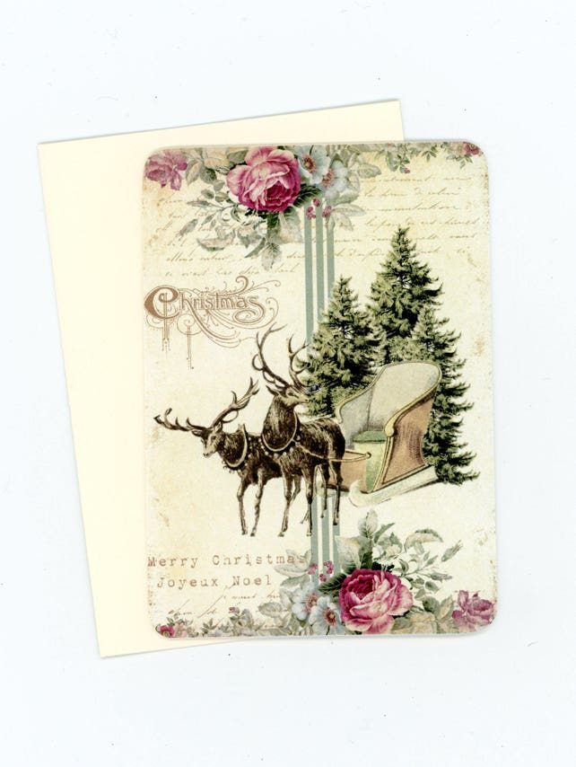 Christmas Flat Cards, Deer and Sleigh Blank Cards, Shabby Christmas Note Cards, Pink and Green Cards, Vintage Style, Christmas Trees