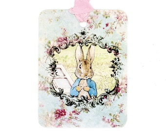 Peter Rabbit Gift Tags , Shabby and Chic Tags , Beatrix Potter , Vintage Style , New Baby Tags , Shower , Christening , Birthday , Aqua Tags