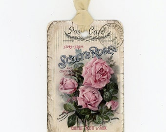 Shabby Rose Tags , Vintage Roses , Pink Roses , Rose Postcard , Rustic Roses Tags Bluebird Lane
