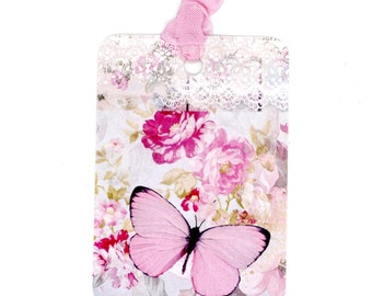 Butterfly Gift Tags , Pink Butterfly , Pink and Grey Tags , Butterfly and Roses , Bridal Shower , Wedding Tags , Birthday Tags , Pastel tags