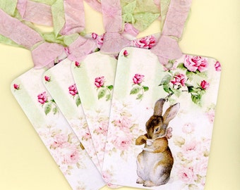 Tags , Rabbit Gift Tags , Pink and Green Tags , Beatrix Potter , Shabby and Chic , Cottage Style , Double Seam Binding , Shabby Pink Roses