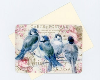 Note Cards , Bluebird Cards , Blank Cards , Flat Cards , Vintage Style Cards , French Cards , Paris Cards