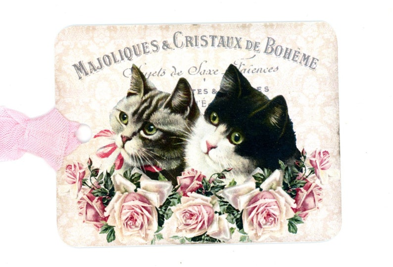 Cats Gift Tags Kittens And Roses Black And White Cat Grey Etsy
