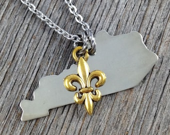 Kentucky Necklace, Silver Necklace, State Necklace, Aluminum Necklace, Freshwater Pearl or Gold Fleur de Lis, Gift for Mom, Gift for Her