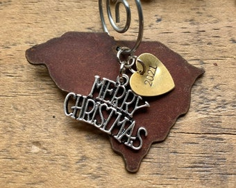 """SOUTH CAROLINA Christmas Ornament, SMALL 2"""", South Carolina Gift, 2021 Christmas Gift or Stocking Stuffer, Housewarming, Vacation Souvenir"""