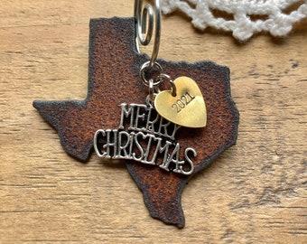 "TEXAS Christmas Ornament, SMALL 2"", Texas Gift, Texas Souvenir, 2021 Christmas Gifts, Gift for Texan, Wedding, TEXAS Ornaments"