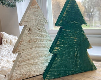 Wooden Christmas Tree Shape for Tiered Tray Decor, Green or White Wood Christmas Trees, Farmhouse Holiday Shelf Sitter, Xmas Trees Tier Tray
