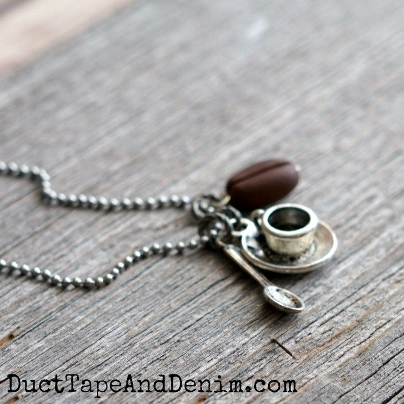 COFFEE BEAN NECKLACE with Cup Spoon and Bean Coffee image 0