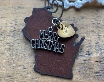 "WISCONSIN Christmas Ornament, SMALL 2"", 2021 Christmas Gift, Wisconsin Gift, Wisconsin Souvenir for Vacation, Wedding Favor, Engagement Gift"
