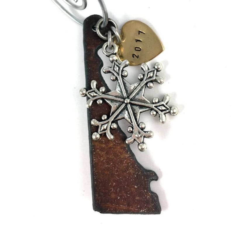 DELAWARE Christmas Ornament SMALL Rustic Hand Stamped Personalized 2019 Gift Idea