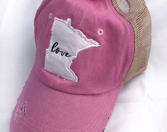 new styles 08c31 6e3de Pink Distressed Minnesota LOVE Trucker Hat, Embroidered