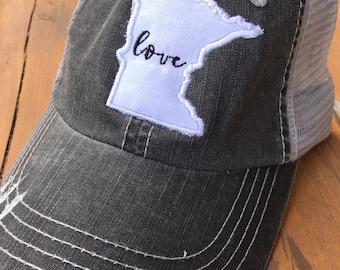 a322c5623d446 Distressed Minnesota Map Trucker Hat