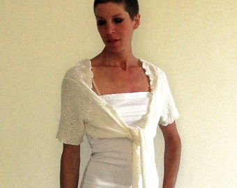 knit bridal cover-up, ivory bolero shrug, layering top, short sleeved top, ivory viscose knit