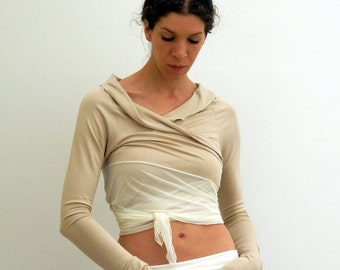 wrap jersey shrug, jersey and mesh, made to order