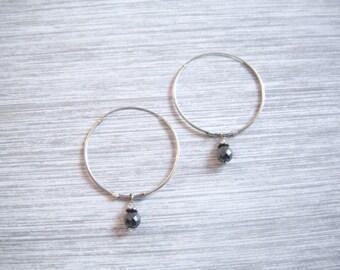 Large Hoop Earrings Sterling Silver With Hematite Stone Bead