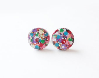 circle resin studs, fun glitter confetti earrings