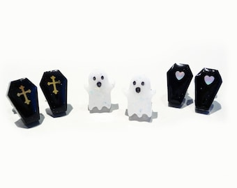 spooky cute ghosts and coffins studs sets! choose your own pair of spoopy earrings, stainless steel posts OR clip ons