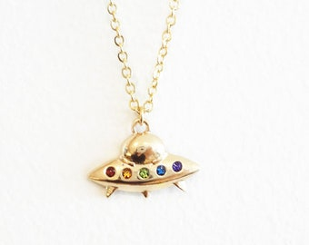 ufo necklace, outer space extraterrestrial life space ship alien charm necklace