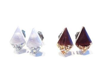 glitter diamond drop resin studs, light lavender with silver glitter OR dark cherry with gold glitter earrings