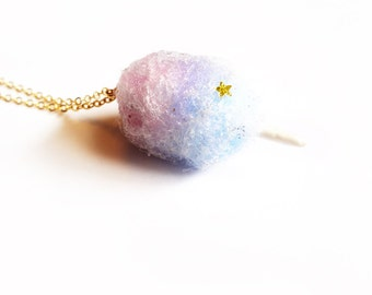 cotton candy necklace, pink and blue with stars and glitter