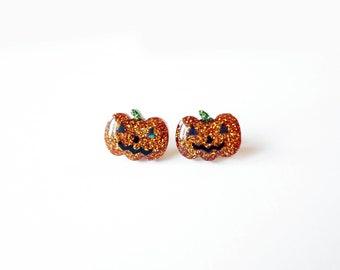 jack o lantern earrings, resin glitter pumpkin studs, stainless steel posts OR clip ons