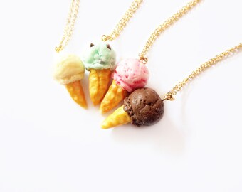 ice cream necklace, vanilla, mint chocolate, strawberry, and chocolate