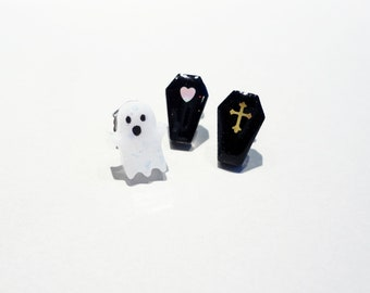 spooky cute ghosts and coffins mismatched studs sets! choose your own pair of spoopy earrings, stainless steel posts OR clip ons