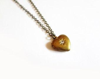 heart locket necklace, starburst rhinestone