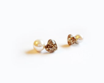 two way earrings, gold heart with pearl backing