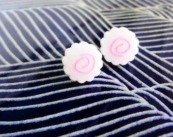 naruto earring studs. narutomaki japanese food resin earrings