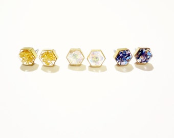 hexagon glitter resin earrings, gold flakes, faux opal, or rainy day