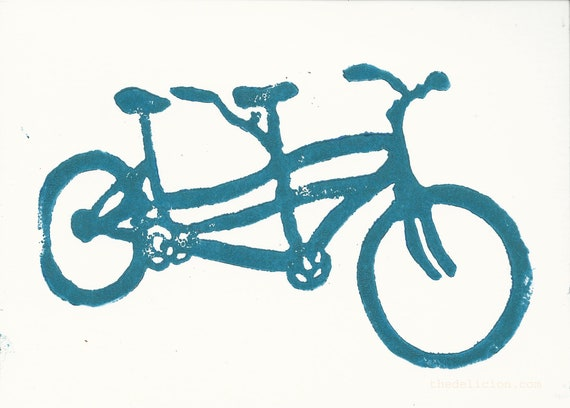 Original Customizable Hand Print Stationery Folded Note Card Bright Blue Tandem Bicycle Art Block Print on B6 Note Card