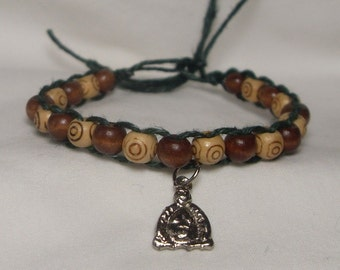 hunter green buddha hemp charm bracelet