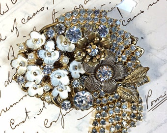 Vintage Collage Brooch pin rhinestone flower upcycled bling