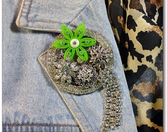 Bling vintage collage brooch rhinestones and green flower Upcycled pin Spring bloom Shannon mother's Day