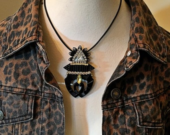 Vintage collage brooch upcycled shoe clip black rhinestone pin Art Deco Judy