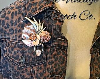 Vintage collage brooch shell 90s enamel peach flowers beach pin pendant