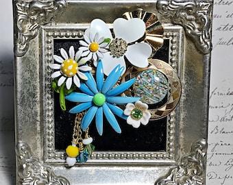 Vintage collage brooch pin enamel rhinestone assemblage flowers daisy pendant blue green yellow June