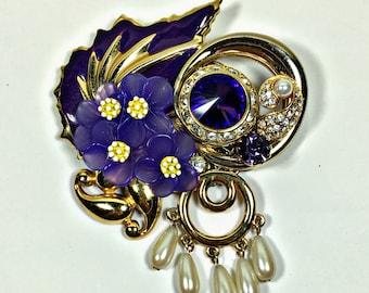 Vintage collage brooch pin purple violet upcycled repurposed flower rhinestone pearl Peggy