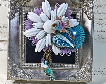 vintage Rescued brooch upcycled recycled white daisy enamel brooch pin fish dangles beaded violet teal