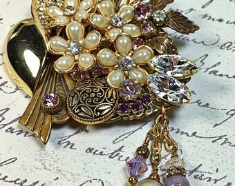 Violet vintage collage brooch pin upcycled purple rhinestone pearl flowers Wedding  Day Birthday