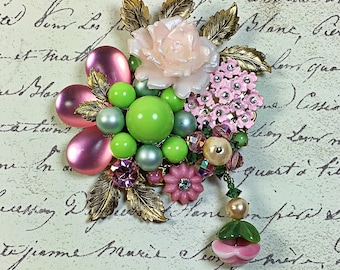 Vintage Collage Brooch pin flower garden enamel pink lime green rhinestone plastic floral upcycled Gwen mother's day