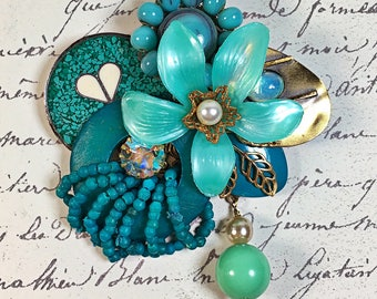Vintage Collage Brooch pin teal flower heart rhinestone pearl Gloria upcycled Mother's Day
